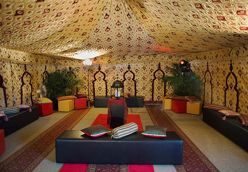 Gaddafi's tent interiors. The mobile tent was a replica of the original one set next to the ruin of Bab al--Azizia, Gaddafi's headquarters in the south of the capital Tripoli which was bombed by the U.S. in 1986.