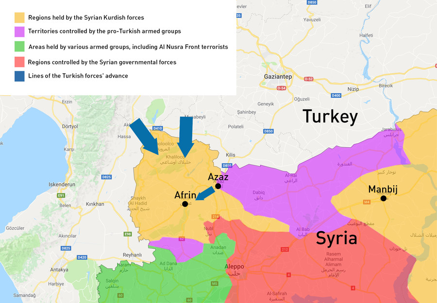 Turkey Afrin operation Olive Branch map