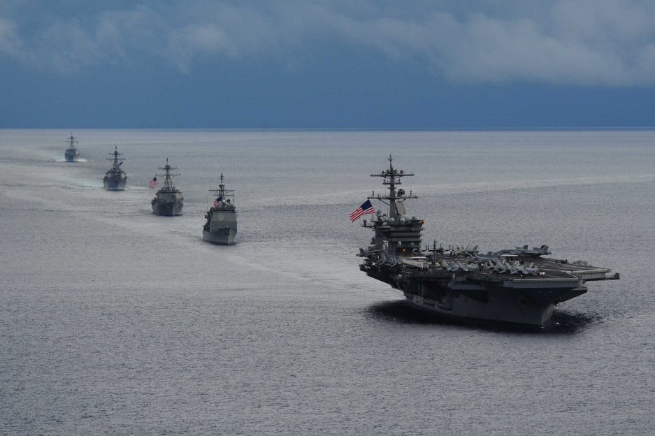 The aircraft carrier USS Harry Truman leads a formation of ships to Mediterranian Sea