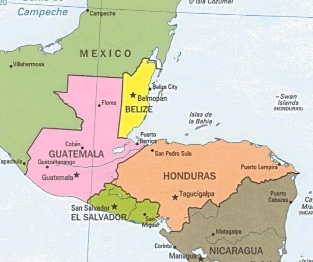 Guatemala Belize map
