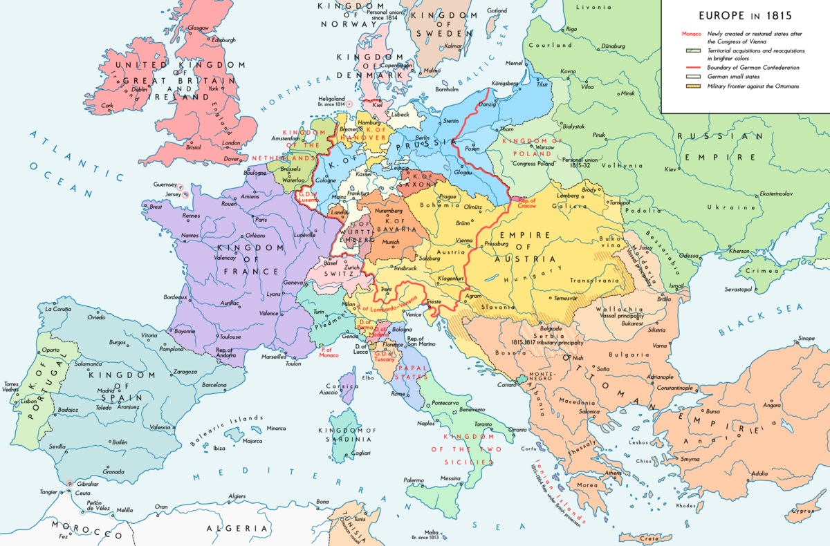 Europe in 1815 map