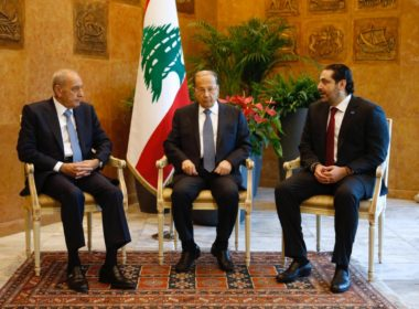 Lebanese President Michel Aoun meets with Prime Minister Saad al-Hariri, and Lebanese Parliament Speaker Nabih Berri at the presidential palace in Baabda
