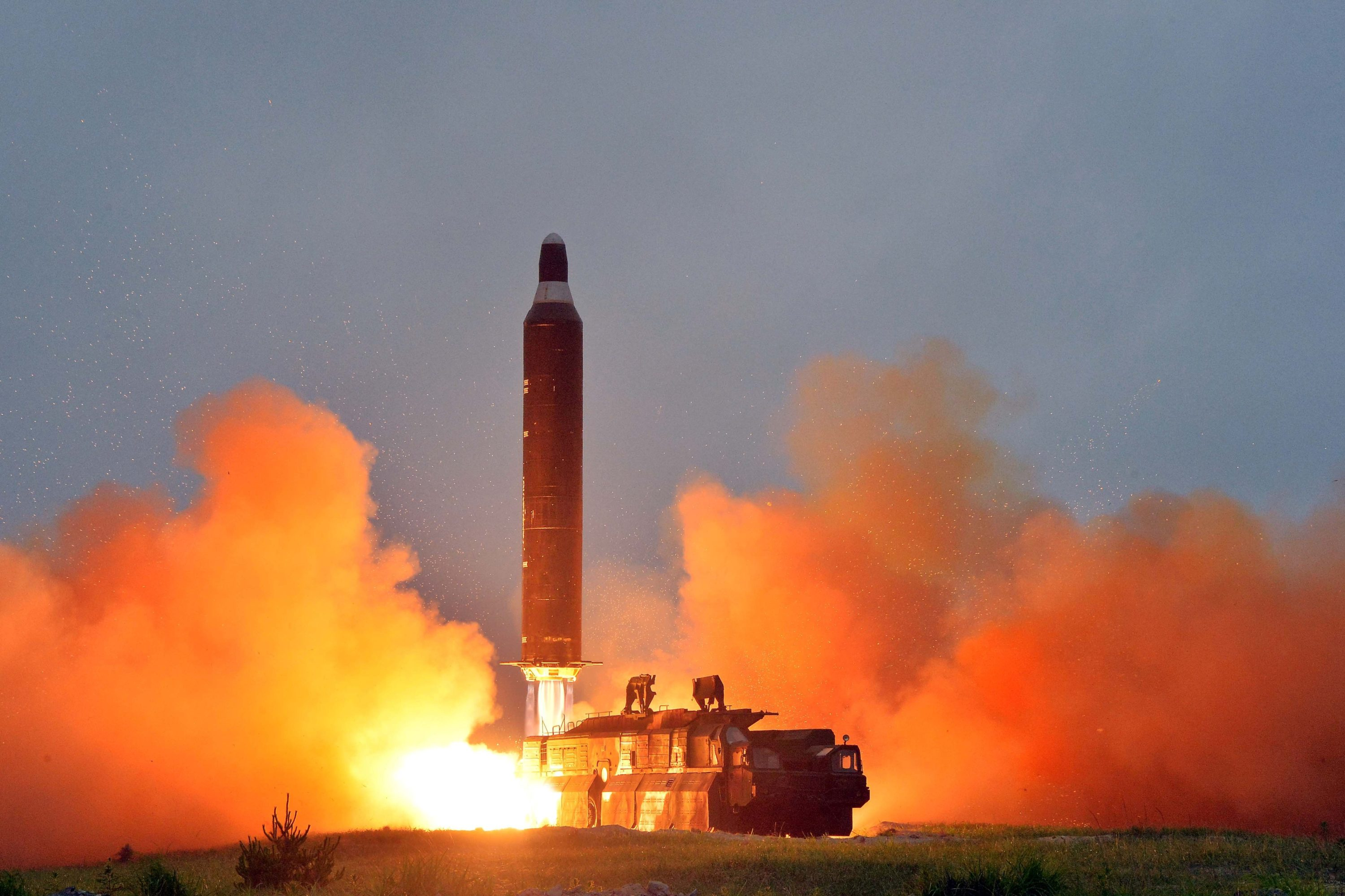 A test launch of ground-to-ground medium long-range ballistic rocket Hwasong-10