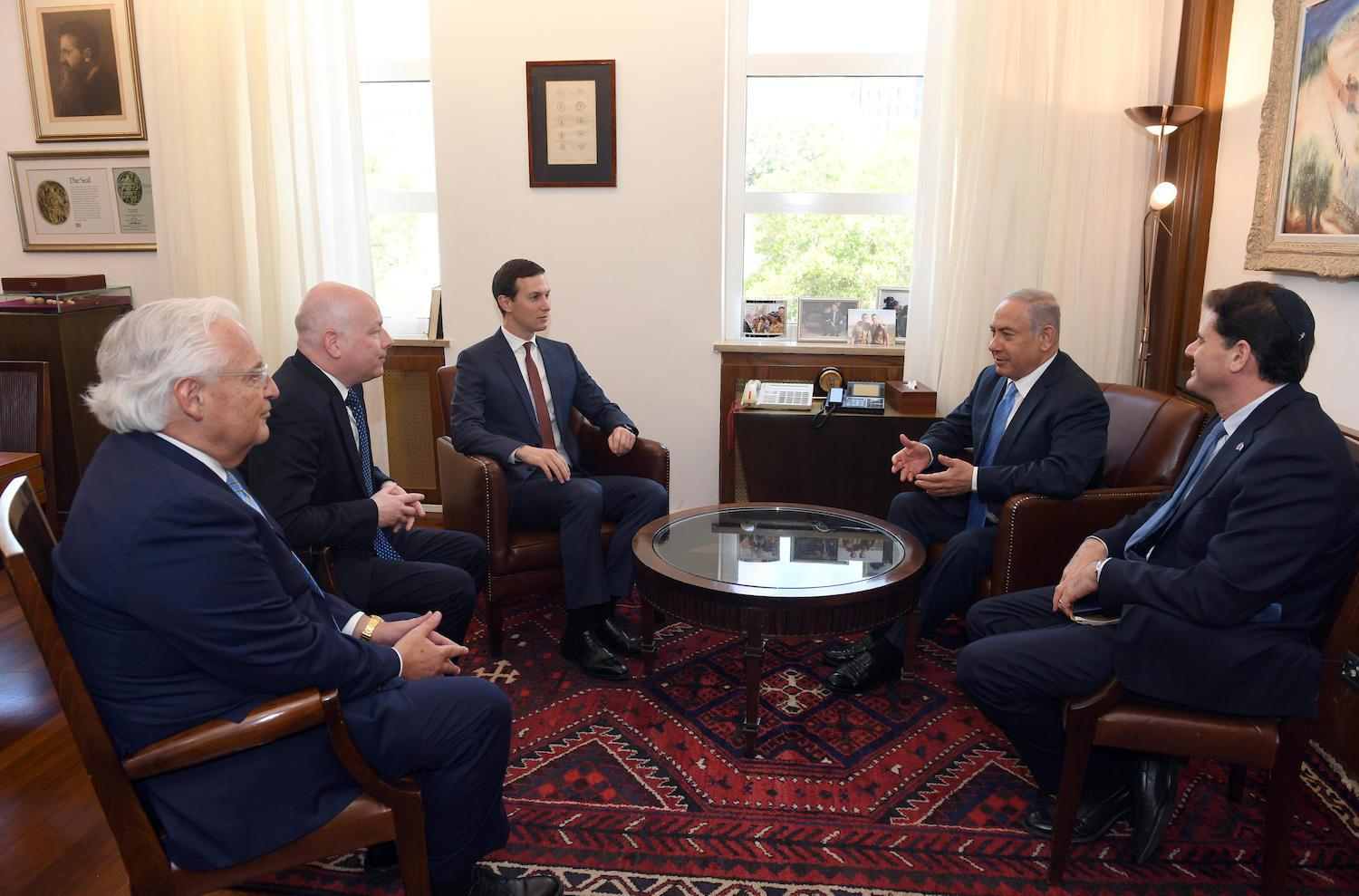 Prime Minister of Israel Netanyahu meets with Jared Kushner, Jason Greenblatt and David Friedman