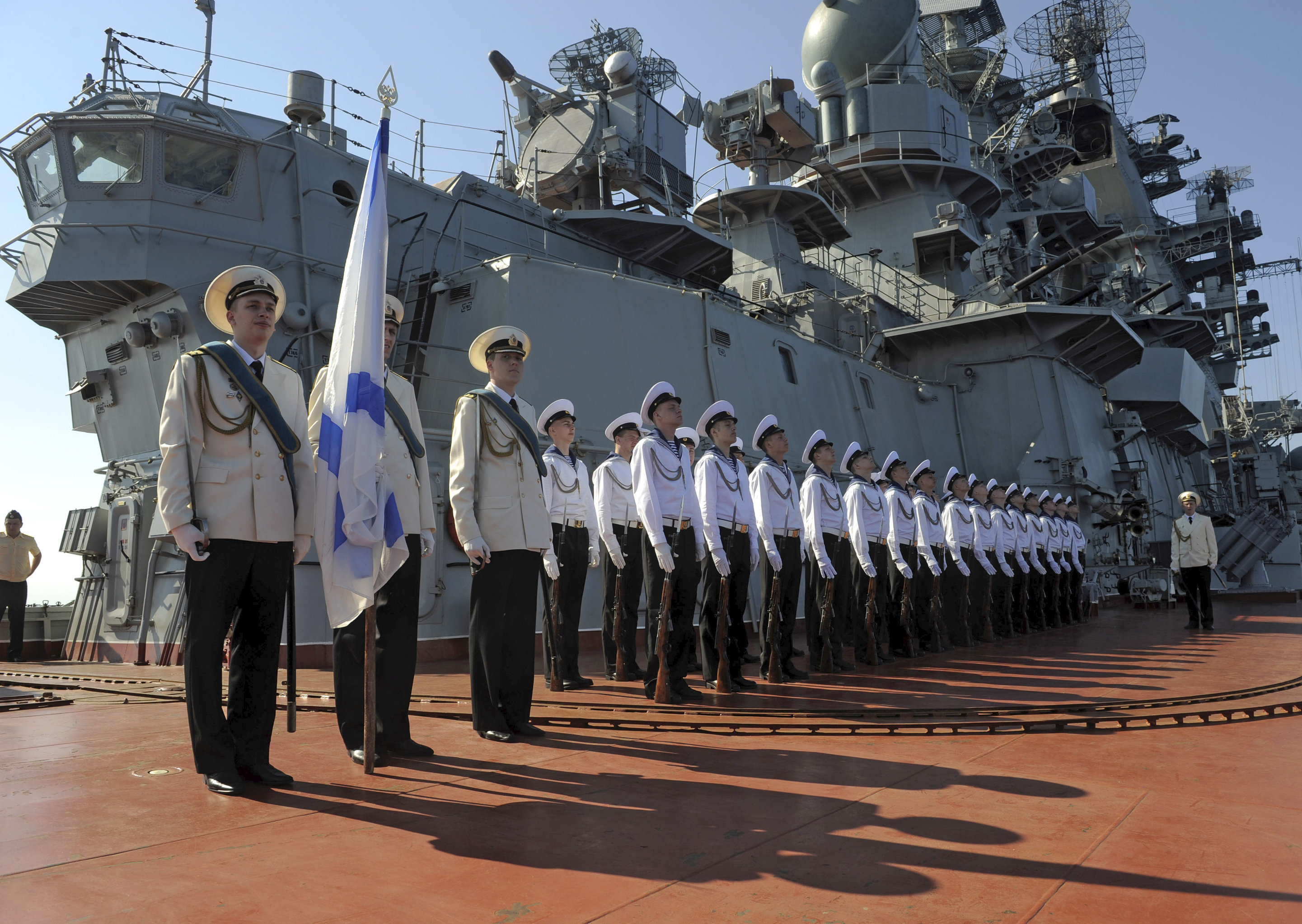 Pyotr Veliky missile cruiser makes port call in Tartus Syria