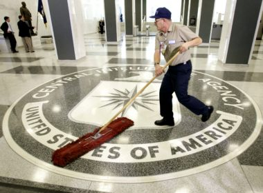 The logo of the U.S. Central Intelligence Agency is swept in the lobby of the CIA headquarters in Langley.