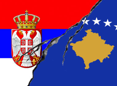 Serbian and Kosovo flag, conflict concept