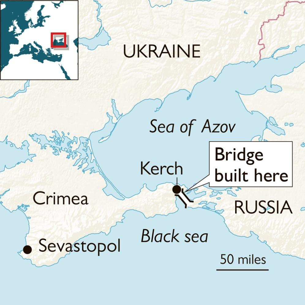 Kerch strait bridge map