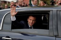 Macron in car