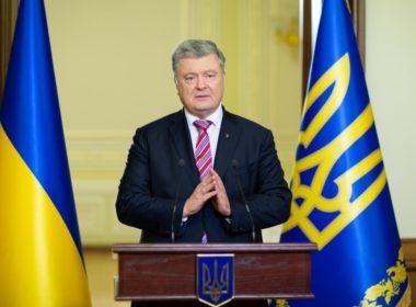 Ukrainian President Poroshenko makes a statement on a new national independent church in Kiev