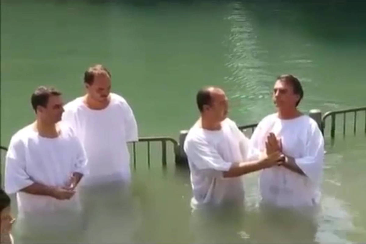 The baptism of Jair Bolsonaro in the waters of the Jordan (Israel)