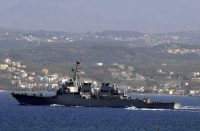 Guided-missile destroyer USS McFaul (DDG 74) as it transits Souda Harbor headed to the Republic of Georgia