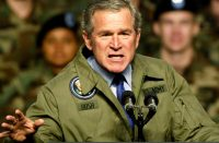 US PRESIDENT GEORGE BUSH MAKES A POINT DURING SPEECH TO ARMY TROOPS INTEXAS.