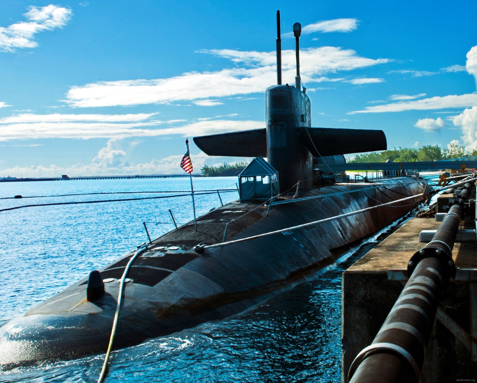 A US submarine at the Diego Garcia base