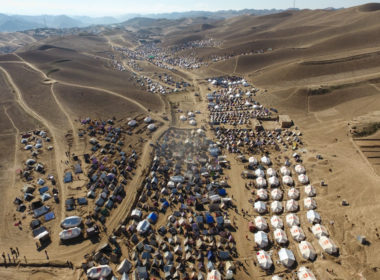 Displaced family tents