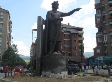 Monument to Prince Lazar in North Mitrovica in Kosovo