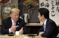 US President Trump and Shinzo Abe