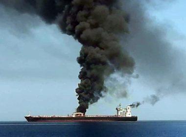 Oil tanker burns