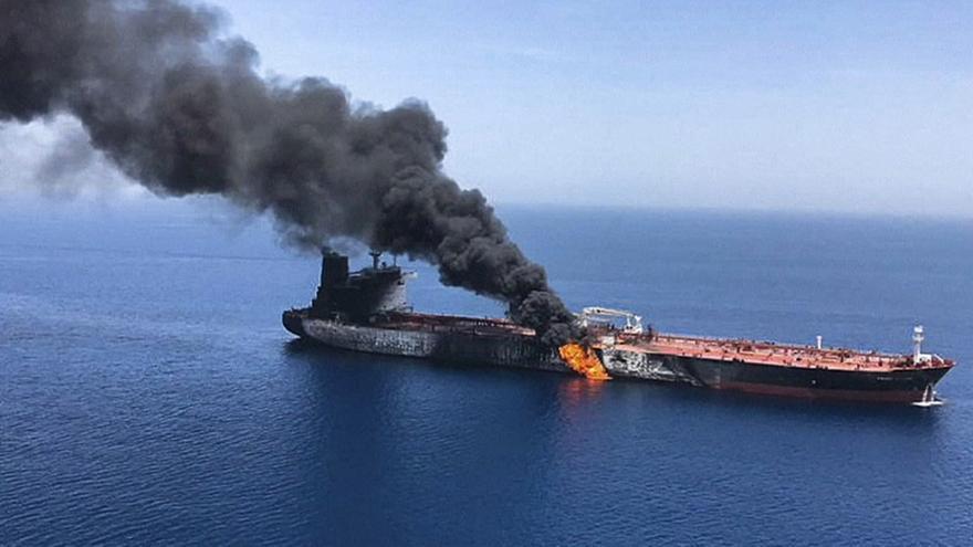 Tanker on fire wide