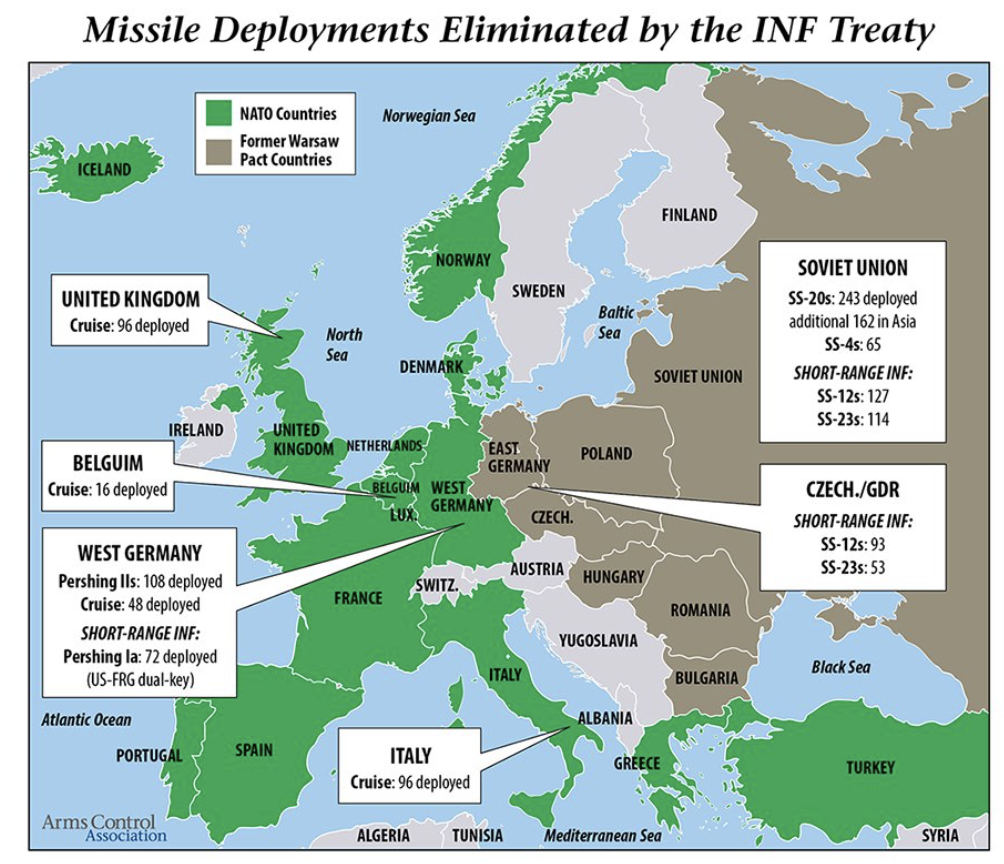 Here is a map showing the deployment of missiles that fell under the INF Treaty on November 1, 1987