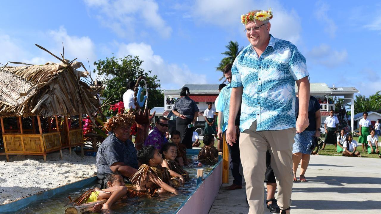 Morrison arives into Tuvalu