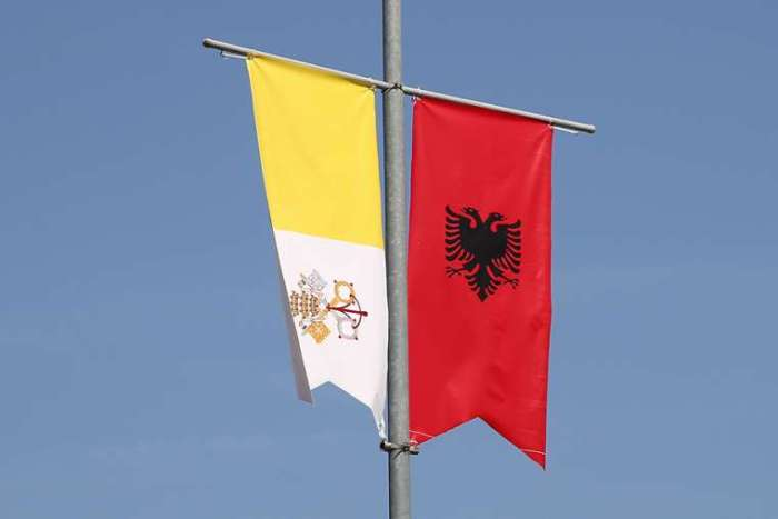Vatican and Albania flags