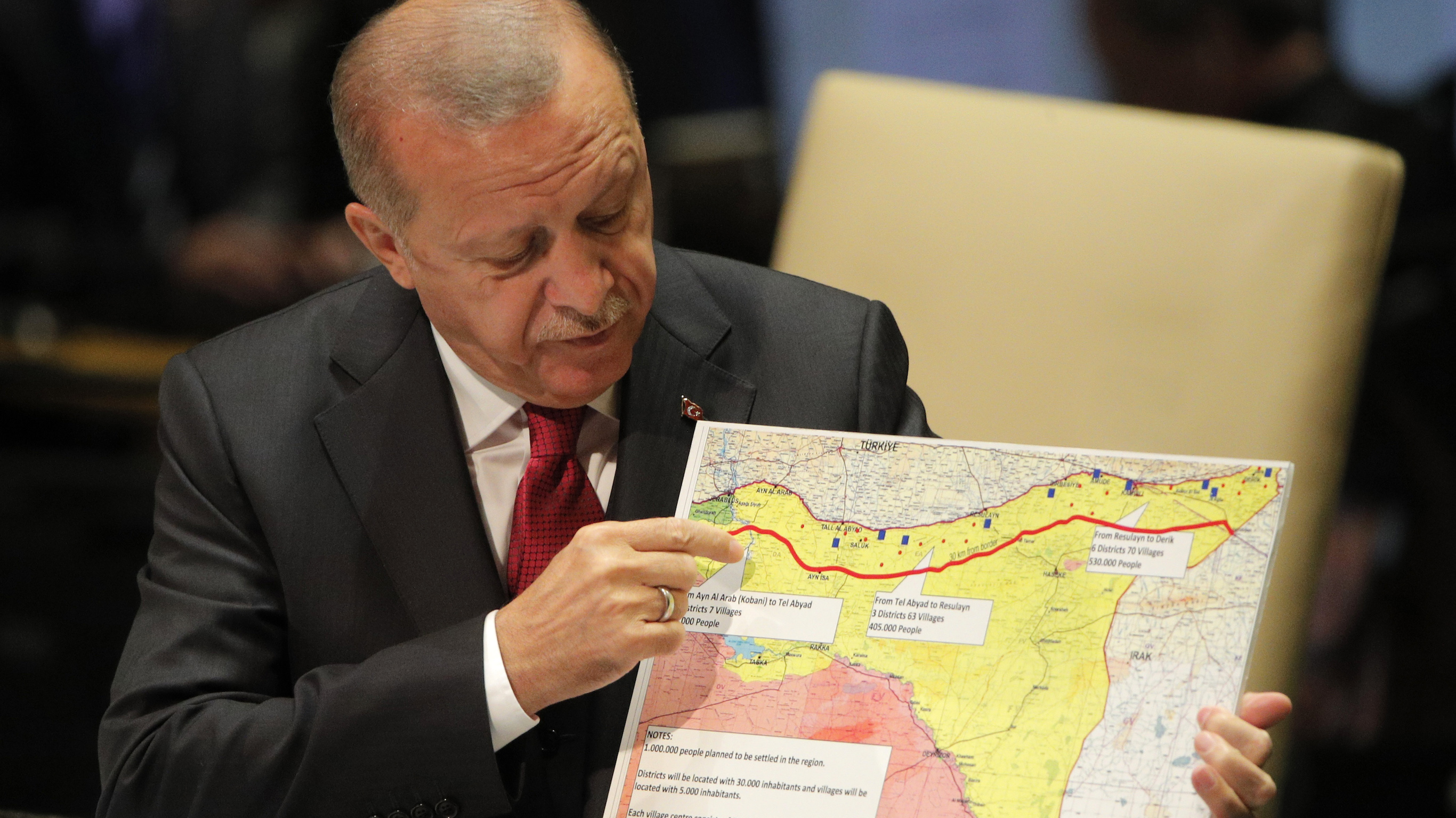 Erdogan with a map