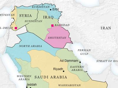 "The map of the ""Remodeling of the Broader Middle East"", modified after the failure of the first war against Syria"