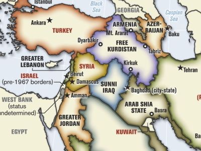 "The staff map of the Rumsfeld/Cebrowski plan for ""Remodelling the Broader Middle East"""