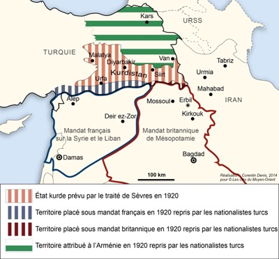 In brown: Kurdistan designed by the King-Crane Commission, validated by US President Woodrow Wilson and adopted in 1920 by the Sèvres Conference.
