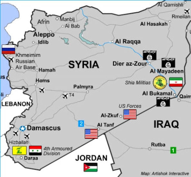 The US garrison at Al Tanf at tri-border point in southern Syria strategically overlooks de-confliction zones