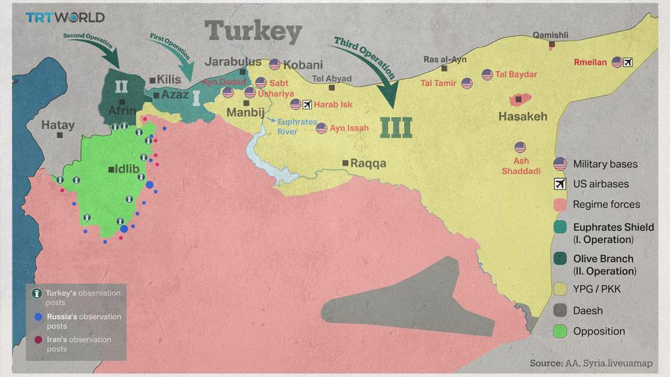 Turkey operations in Syria map