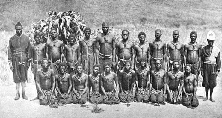 Slave labor workers in Leopold II Congo