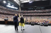 Modi and Trump on stage in Houston