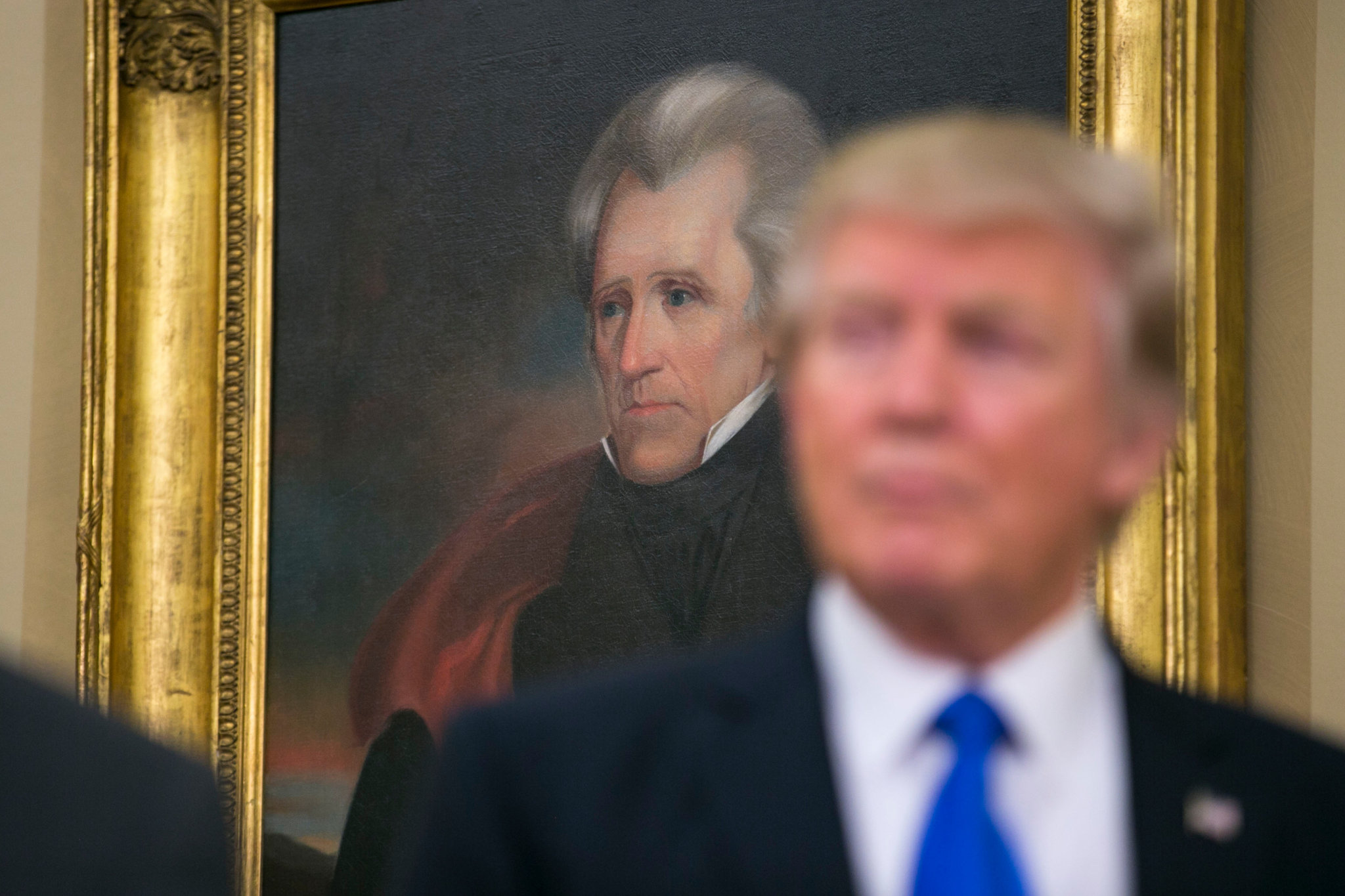 A portrait of Andrew Jackson in the Oval Office