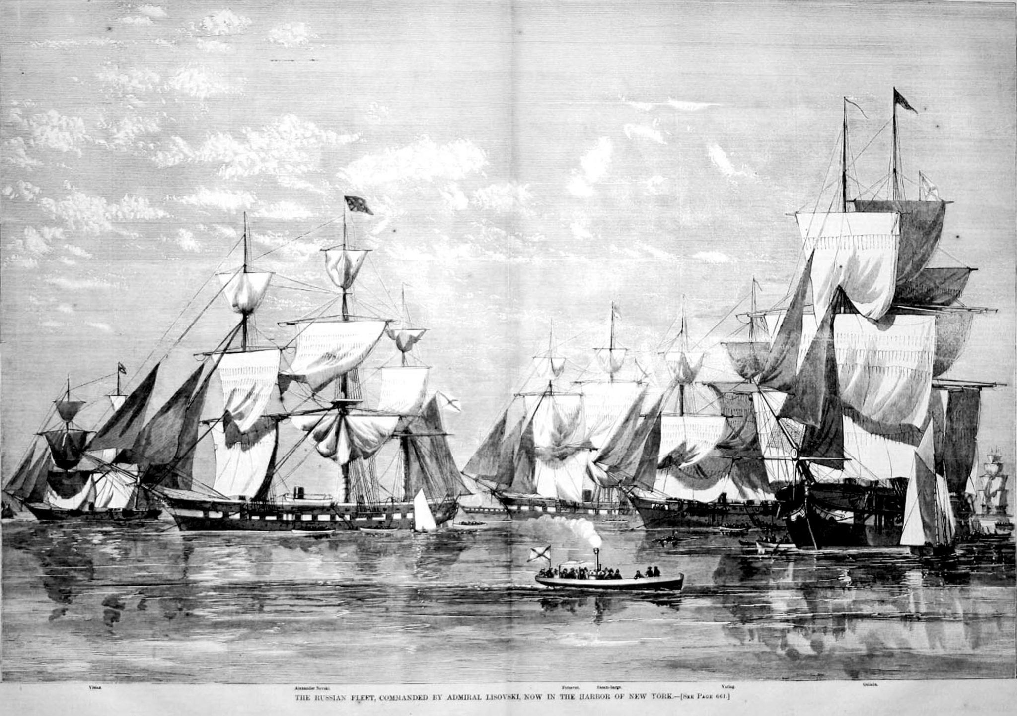 The Russian Fleet, Commanded by Admiral Lisovski, Now in New York Harbor. Harpers Weekly, 1863