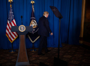 Trump walks off after delivering remarks on Iran