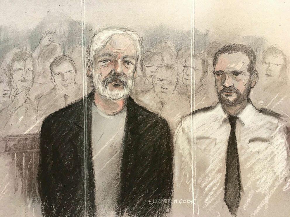 Assange court sketch