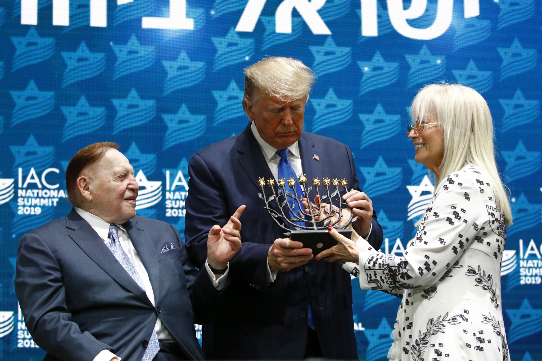 Trump receives a menorah