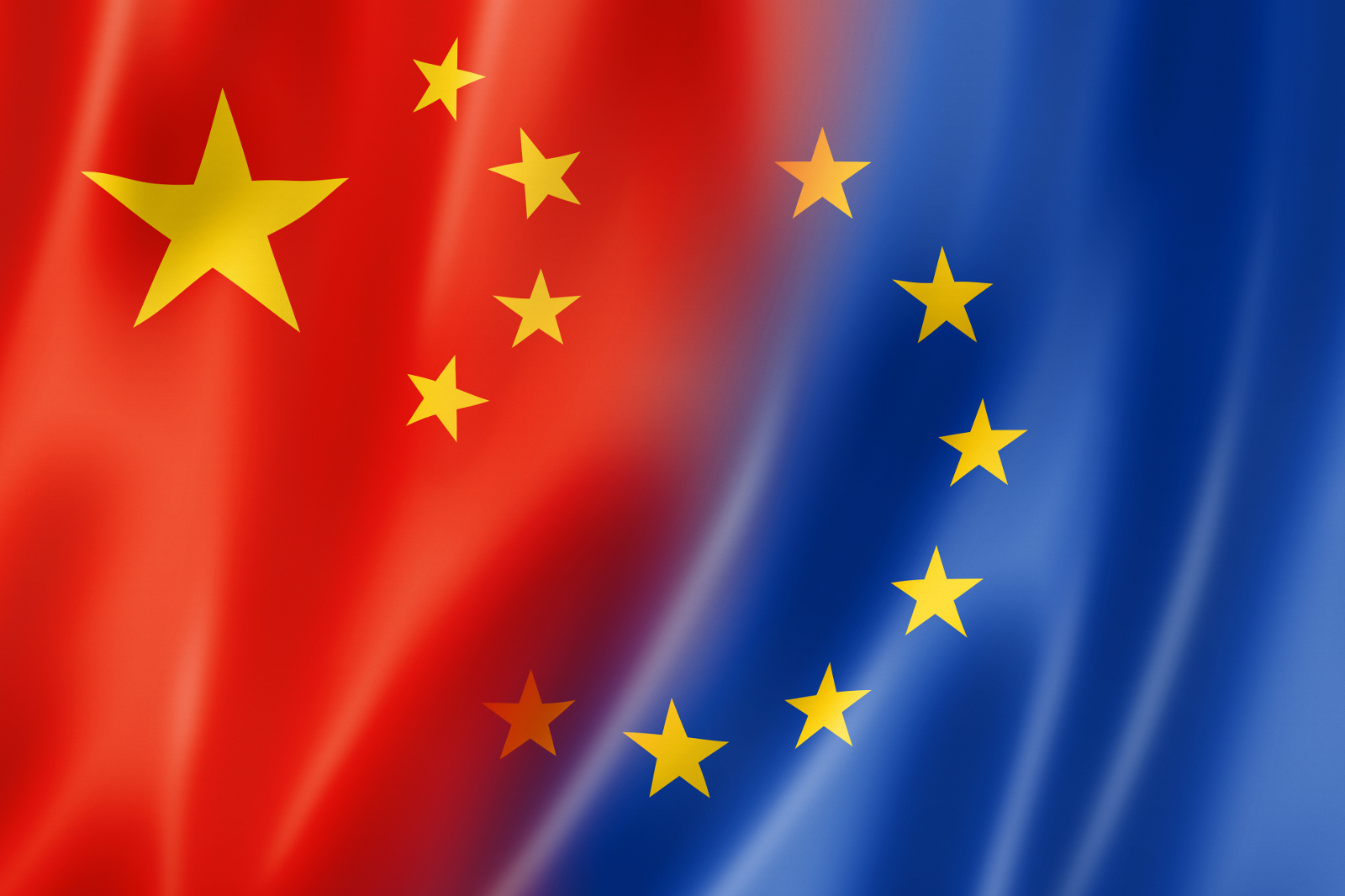 Mixed China and Europe flag, three dimensional render, illustration