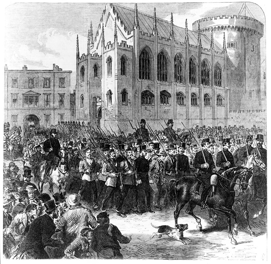 Members of the Irish Republican Brotherhood are marched through Dublin to Mountjoy Prison following the failed rebellion of 1867