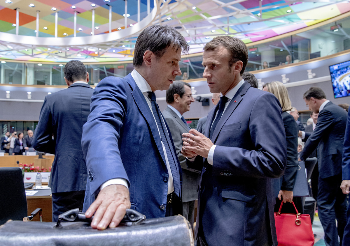 Macron with Conte