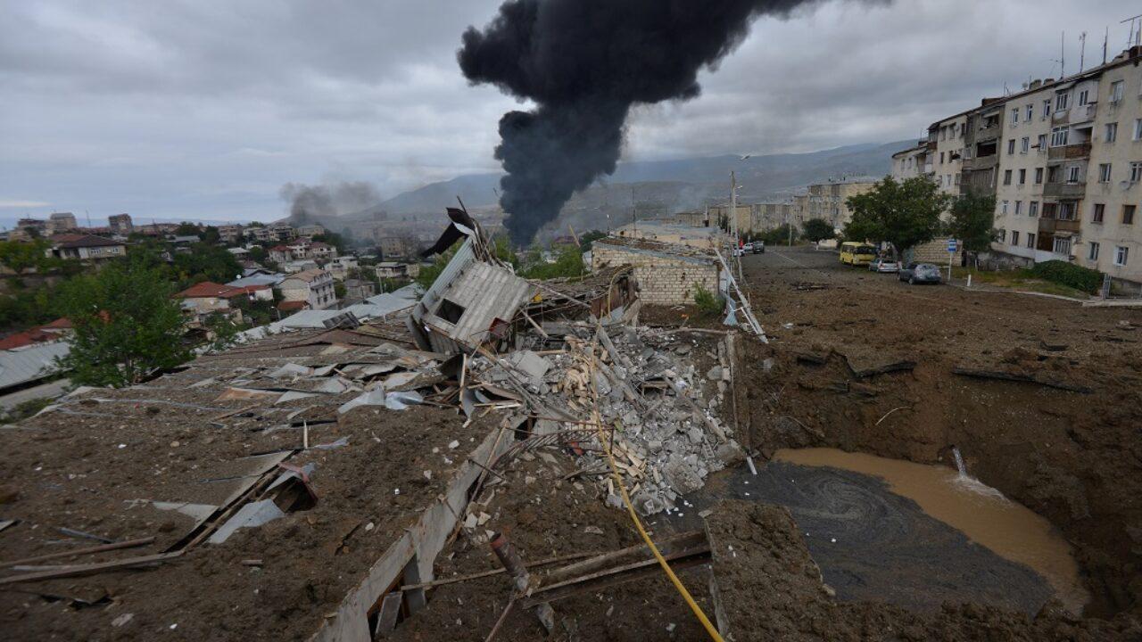 Armenian shelling on Ganja