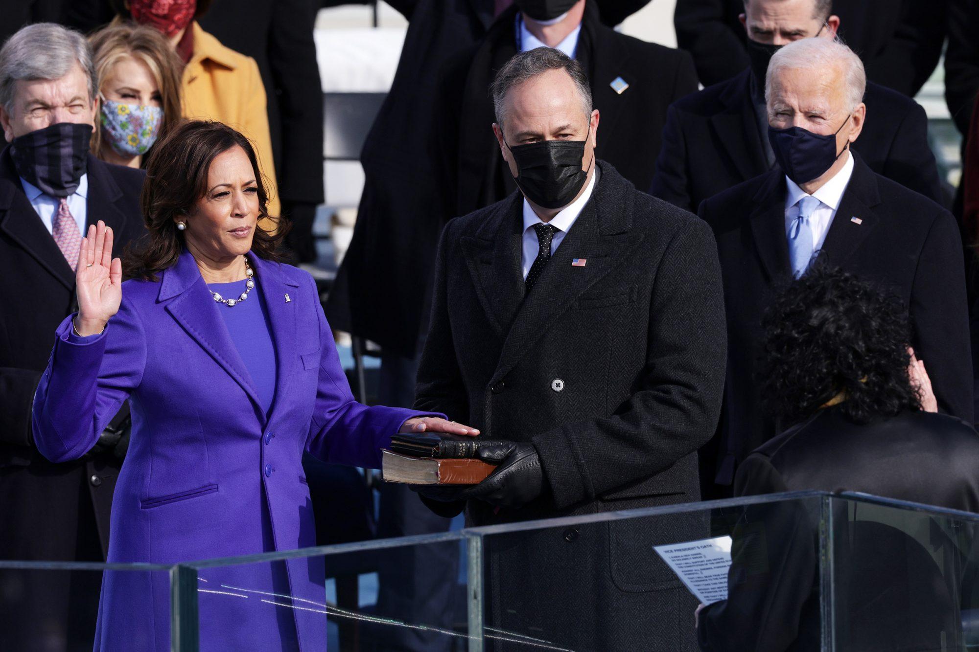 Harris being sworn