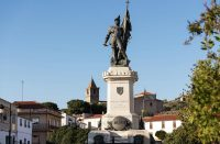 Statue of Spanish conquistador Hernan Cortes in the plaza of the same name in Medellin, Extremadura, Spain