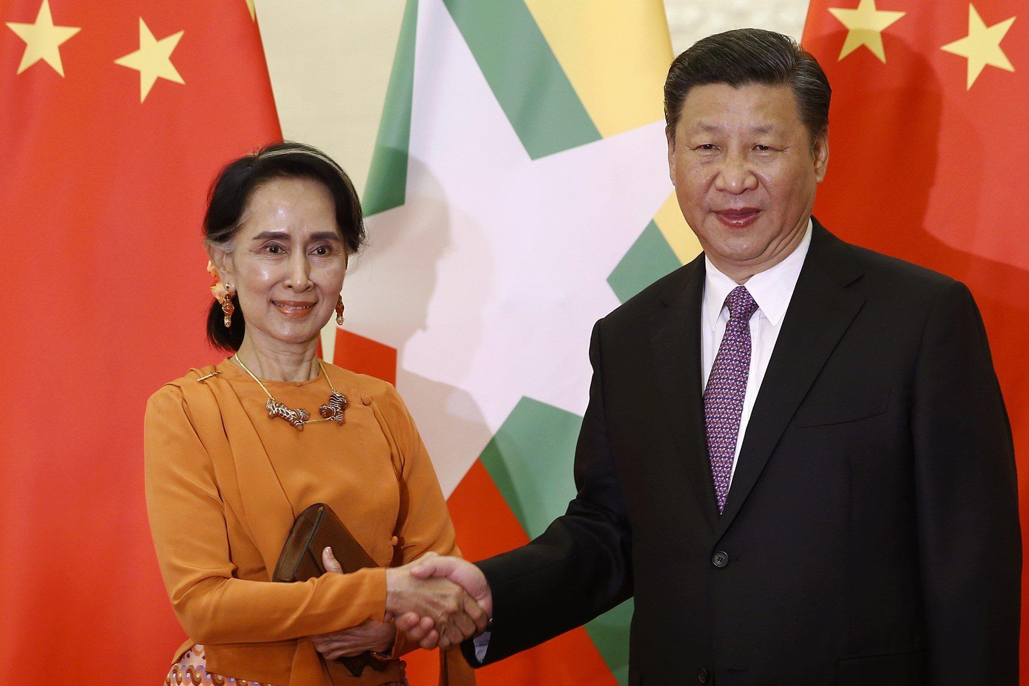 Aung San Suu Kyi and Xi Jinping