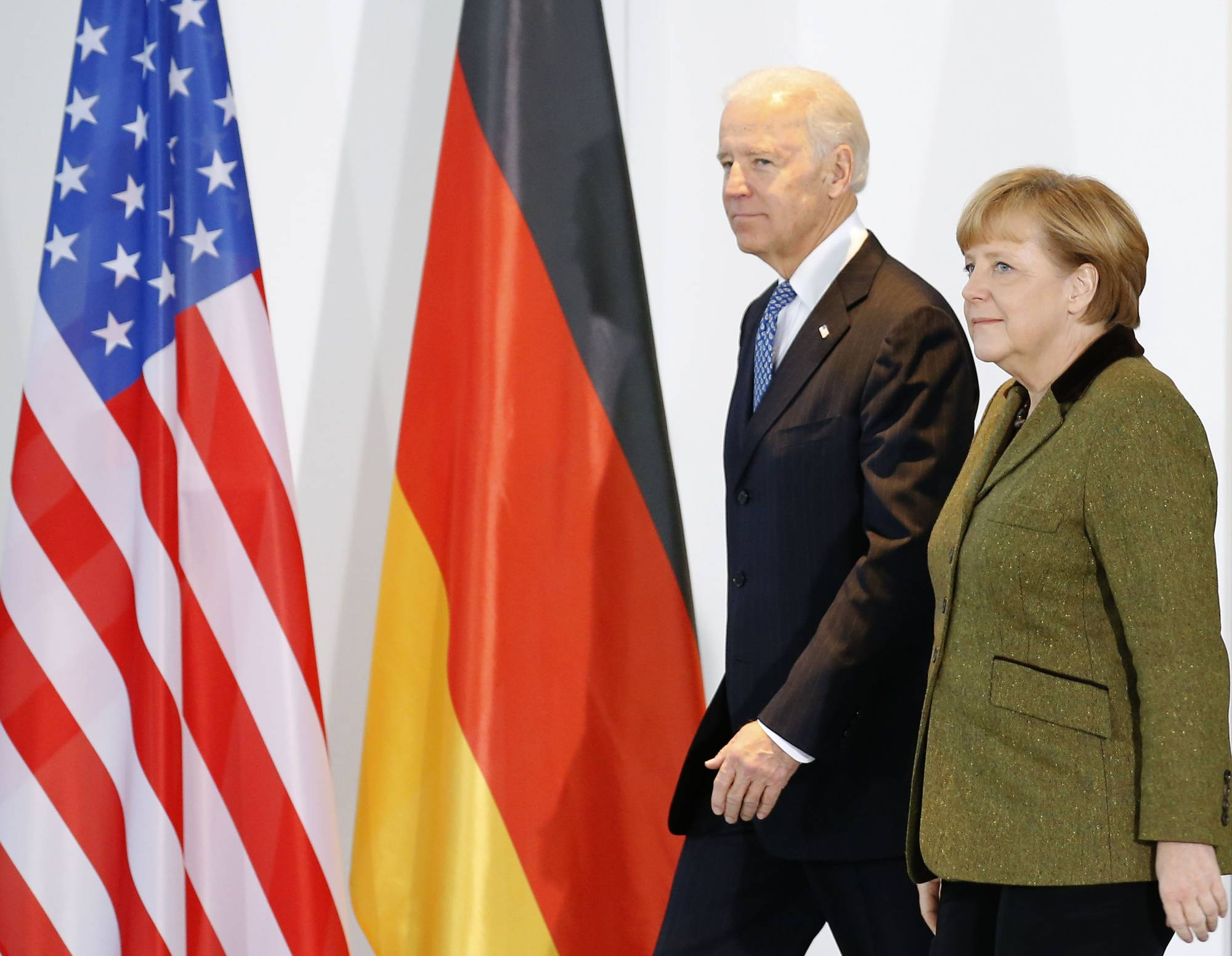 German Chancellor Merkel and U.S. Vice President Biden arrive to make statement to media in Berlin