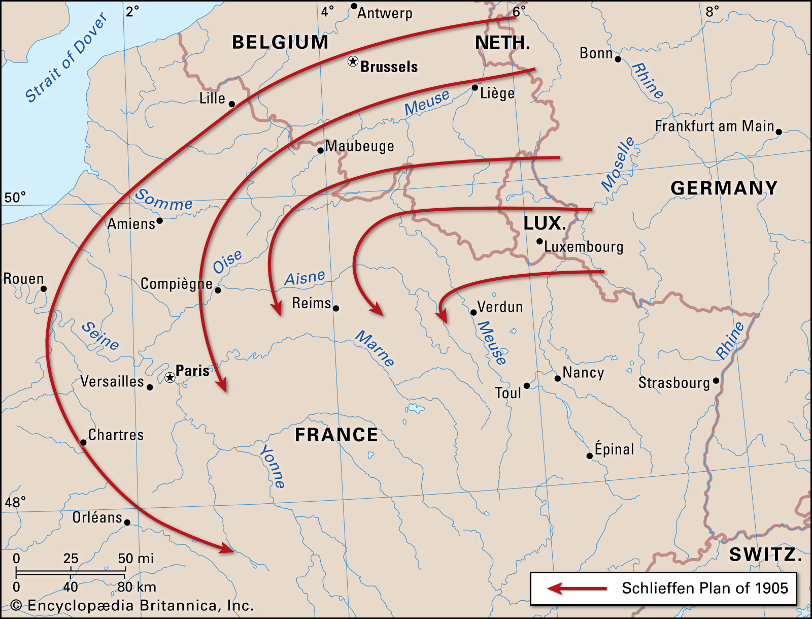 Map of the Schlieffen Plan of 1905